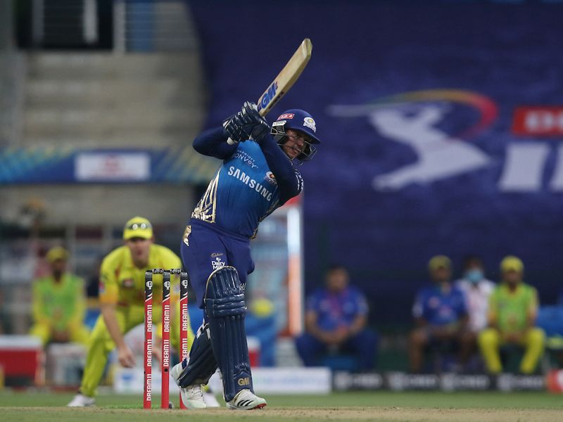 Quinton de Kock of Mumbai Indians plays a shot during match 1 of season 13 of the Dream 11 Indian Premier League (IPL) between the Mumbai Indians and the Chennai Superkings held at the Sheikh Zayed Stadium, Abu Dhabi in the United Arab Emirates on the 19th September 2020. Photo by: Pankaj Nangia / Sportzpics for BCCI