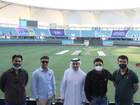 Vice Chairman of Emirates Cricket Board, Khalid Al Zarooni (centre), with Jay Shah and Saurav Ganguly.