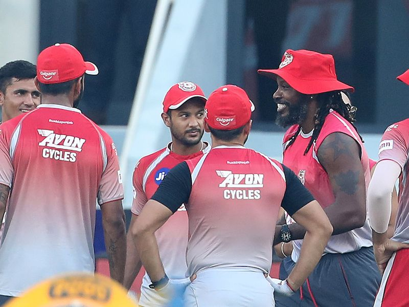 Chris Gayle handed out the new caps for Kings XI Punjab's rookies