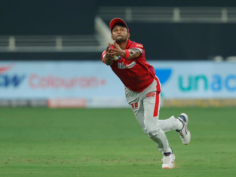 Gowtham Krishnappa of Kings XI Punjab missed the catch during match 2 of season 13 of Dream 11 Indian Premier League (IPL) between Delhi Capitals and Kings XI Punjab held at the Dubai International Cricket Stadium, Dubai in the United Arab Emirates on the 20th September 2020. Photo by: Saikat Das / Sportzpics for BCCI