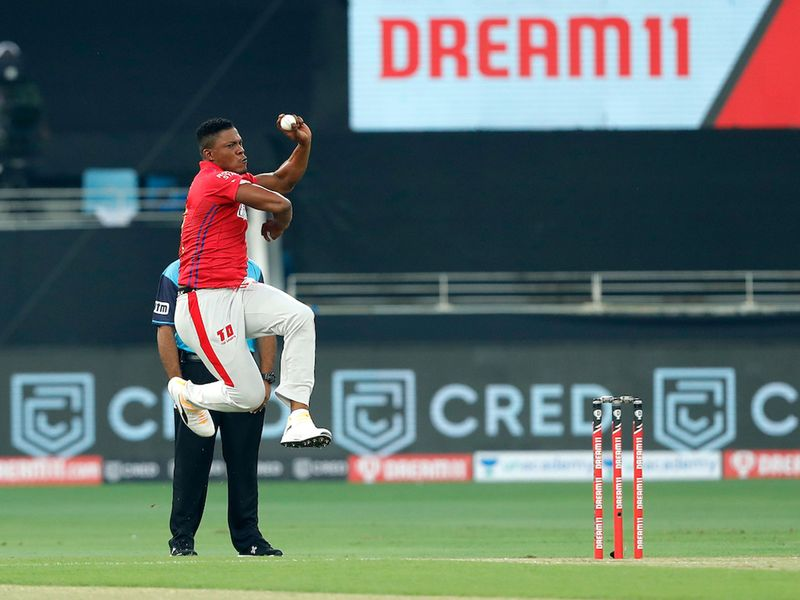 KXIP bowled first and Sheldon Cottrell showed his pace.
