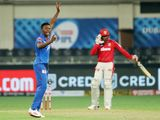 Kagiso Rabada of Delhi Capitals appeals for the wicket of Gowtham Krishnappa of Kings XI Punjab.