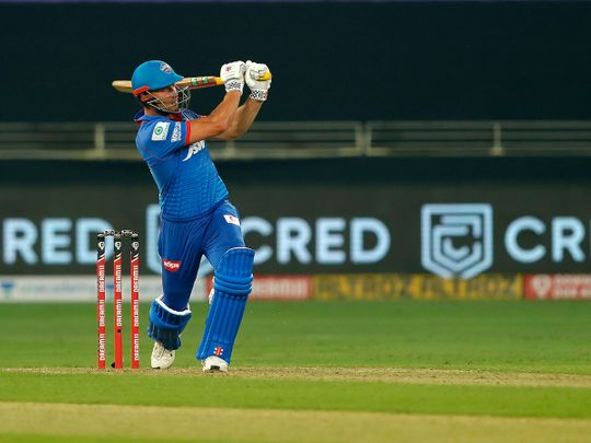 Marcus Stoinis of Delhi Capitals hits a six