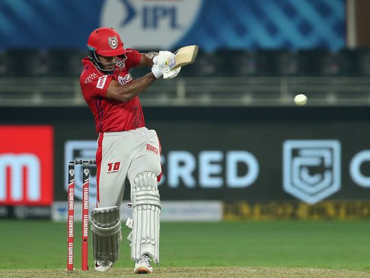 Mayank Agarwal of Kings XI Punjab hits a boundary