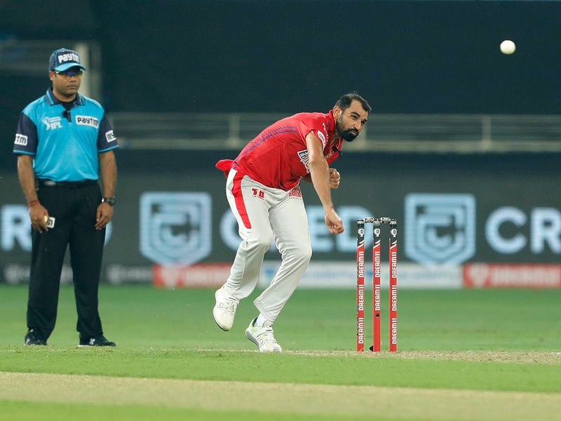 Mohammad Shami of Kings XI Punjab bowls during the match.