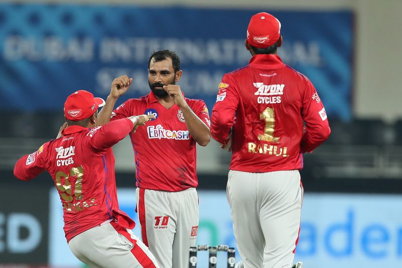 Mohammad Shami of Kings XI Punjab celebrates the wicket of Shimron Hetmyer of Delhi Capitals.