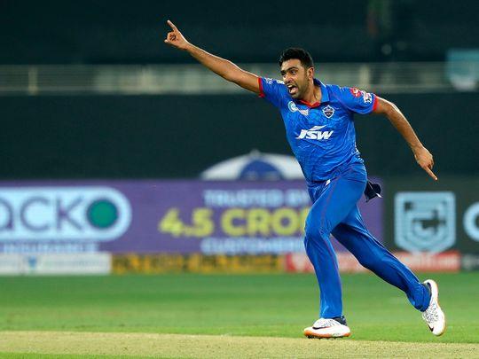 Ravichandran Ashwin of Delhi Capitals celebrates a wicket.