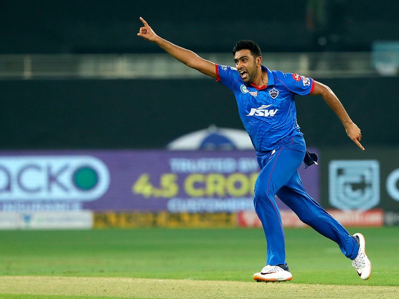 Ravichandran Ashwin of Delhi Capitals celebrates a wicket.
