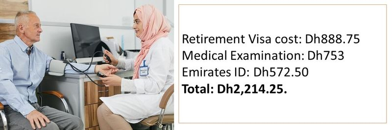 Retirement Visa cost: Dh888.75 Medical Examination: Dh753 Emirates ID: Dh572.50