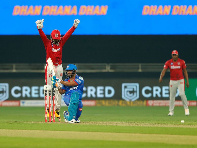 Rishabh Pant of Delhi Capitals is bowled by Ravi Bishnoi of Kings XI Punjab.
