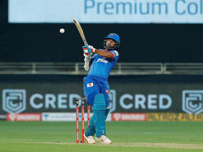Shikhar Dhawan of Delhi Capitals plays a shot.