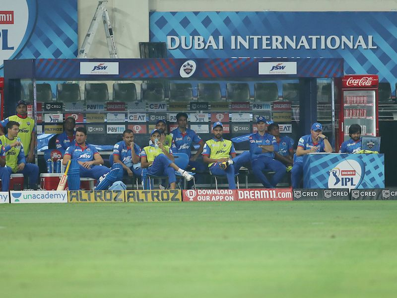The Delhi Capitals dugout looked worries as they slumped.