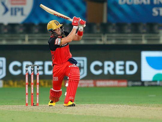 AB de Villiers of Royal Challengers Bangalore plays a shot.