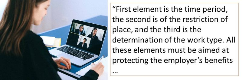 First element is the time period, the second is of the restriction of place, and the third is the determination of the work type