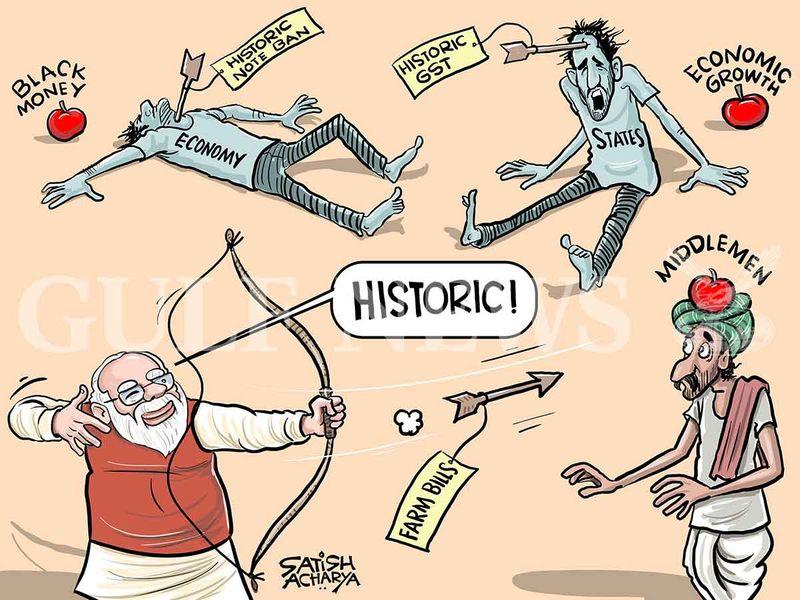 Modi pushes through farm bills amid huge opposition