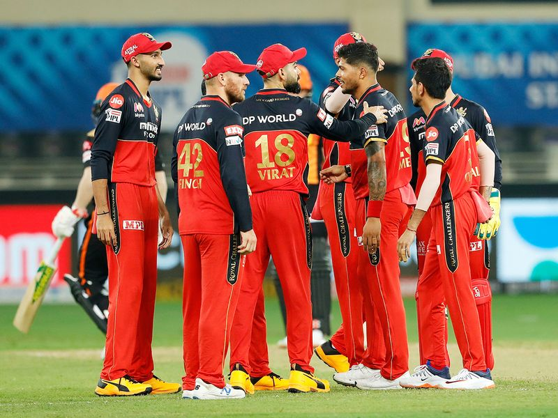 Royal Challengers Bangalore players celebrate the wicket of David Warner of Sunrisers Hyderabad.