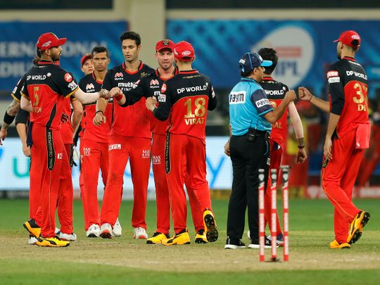 Royal Challengers Bangalore players celebrate their victory