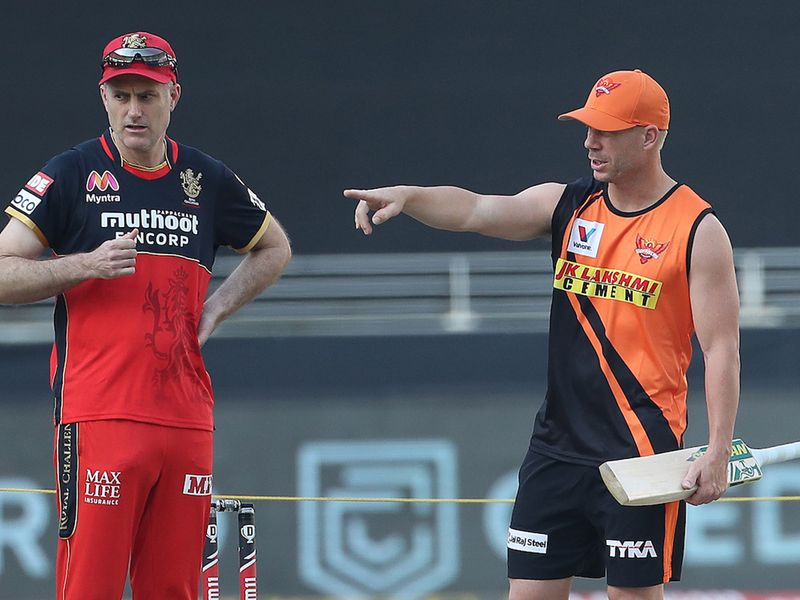 Sunrisers Hyderabad's David Warner surveys the ground at Dubai International Cricket Stadium