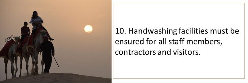 10. Handwashing facilities must be ensured for all staff members, contractors and visitors.