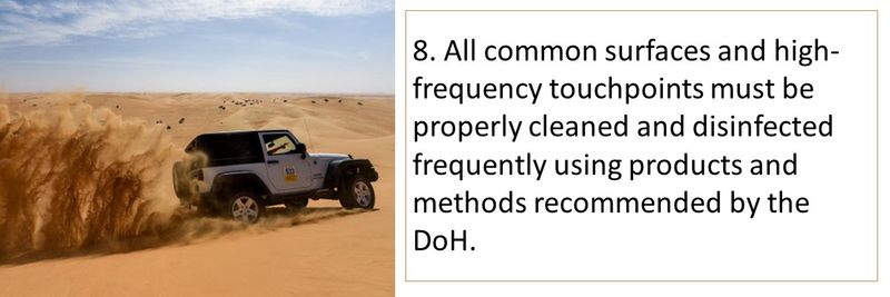 8. All common surfaces and high-frequency touchpoints must be disinfected frequently.