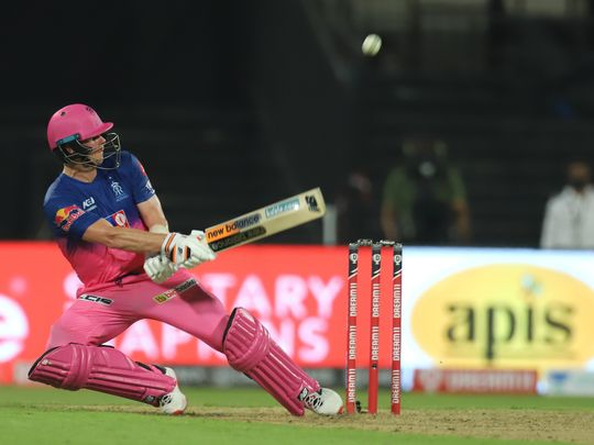 Captain of Rajasthan Royals Steve Smith hits a boundary.