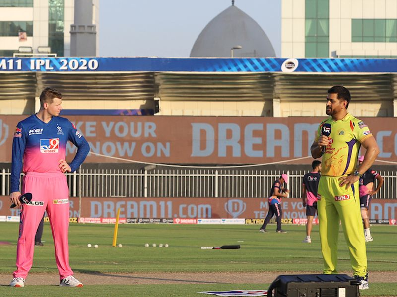 Dhoni and his Rajasthan counterpart Steve Smith engaged in some friendly banter before the game got under way.
