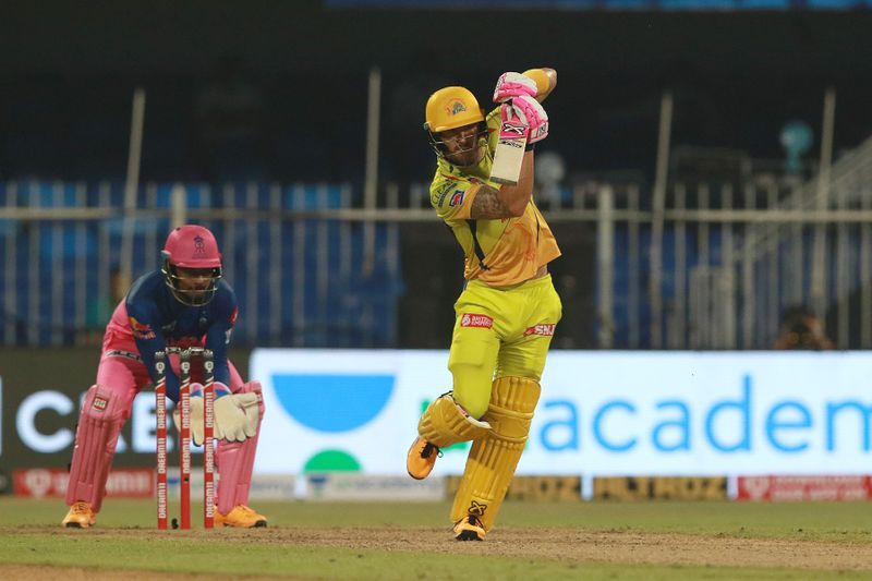 Faf du Plessis of CSK plays a shot.