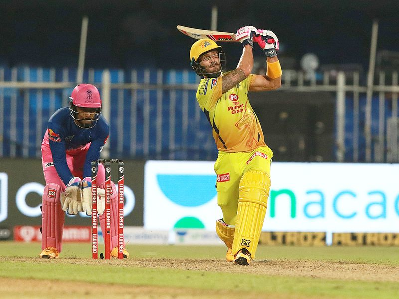 Faf du Plessis of CSK smashes a six.