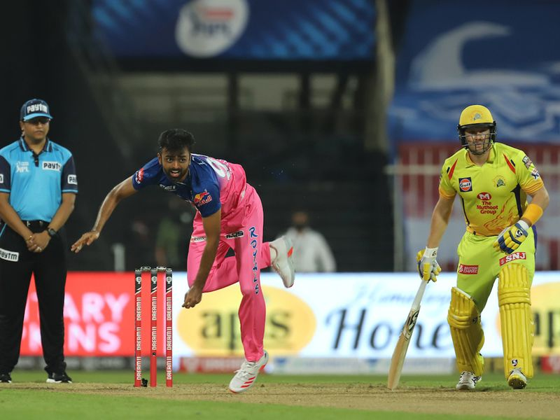 Jaydev Unadkat of Rajasthan Royals bowls during match 4 of season 13 of the Dream 11 Indian Premier League (IPL) between Rajasthan Royals and Chennai Super Kings held at the Sharjah Cricket Stadium, Sharjah in the United Arab Emirates on the 22nd September 2020. Photo by: Deepak Malik / Sportzpics for BCCI
