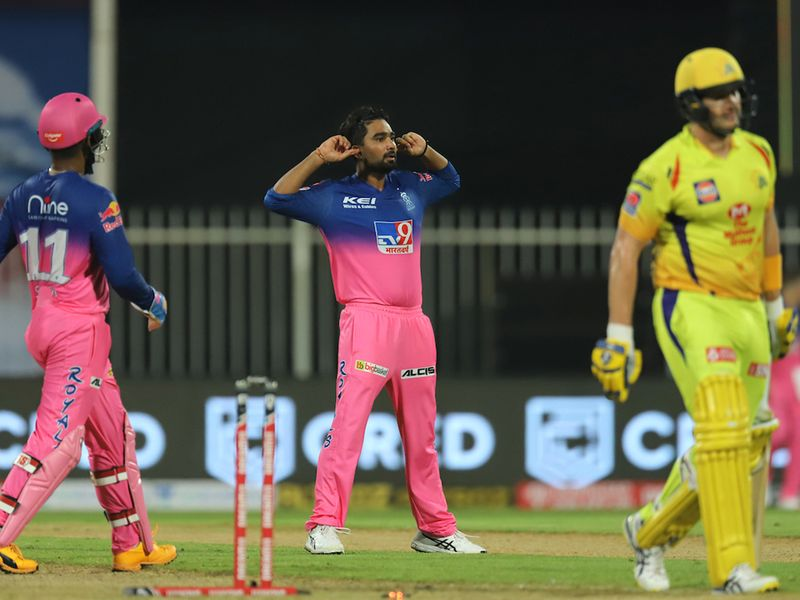 Rahul Tewatia of Rajasthan Royals celebrates the wicket of Shane Watson of Chennai Superkings during match 4 of season 13 of the Dream 11 Indian Premier League (IPL) between Rajasthan Royals and Chennai Super Kings held at the Sharjah Cricket Stadium, Sharjah in the United Arab Emirates on the 22nd September 2020. Photo by: Deepak Malik / Sportzpics for BCCI