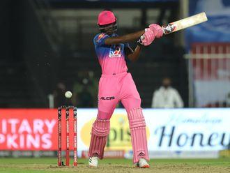 Rajasthan Royals' Jofra Archer smashes a six against Chennai Super Kings