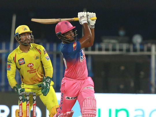 Rajasthan Royals batsman Sanju Samson hits a six.