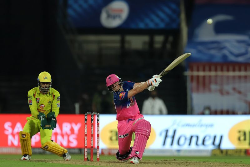 Steve Smith captain of Rajasthan Royals bats during match 4 of season 13 of the Dream 11 Indian Premier League (IPL) between Rajasthan Royals and Chennai Super Kings held at the Sharjah Cricket Stadium, Sharjah in the United Arab Emirates on the 22nd September 2020. Photo by: Deepak Malik / Sportzpics for BCCI