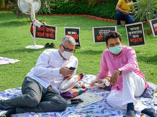 Trinamool Congress (TMC) MP Derek O'Brien and Congress MP Rajiv Satav