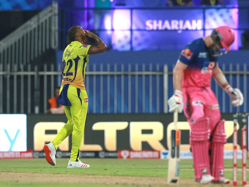 ungi Ngidi of CSK celebrates the wicket of Sanju Samson of RR during match 4 of season 13 of the Indian Premier League (IPL) between Rajasthan Royals and Chennai Super Kings held at the Sharjah Cricket Stadium, Sharjah in the United Arab Emirates on the 24th September 2020. Photo by: Rahul Gulati / Sportzpics for BCCI
