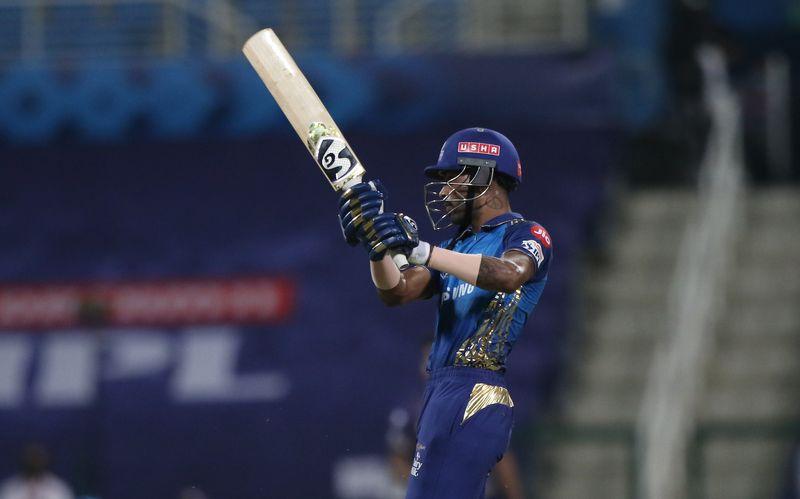 Hardik Pandya of Mumbai Indians plays a shot.