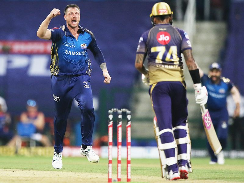 James Pattinson of Mumbai Indians celebrates the wicket of Sunil Narine of Kolkata Knight Riders.