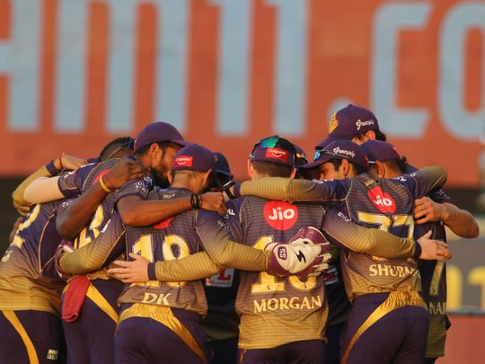 Kolkata Knight Riders make a huddle before the start of the match 5 of season 13 of the Dream 11 Indian Premier League (IPL) between the Kolkata Knight Riders and the Mumbai Indians held at the Sheikh Zayed Stadium, Abu Dhabi in the United Arab Emirates on the 23rd September 2020. Photo by: Vipin Pawar / Sportzpics for BCCI