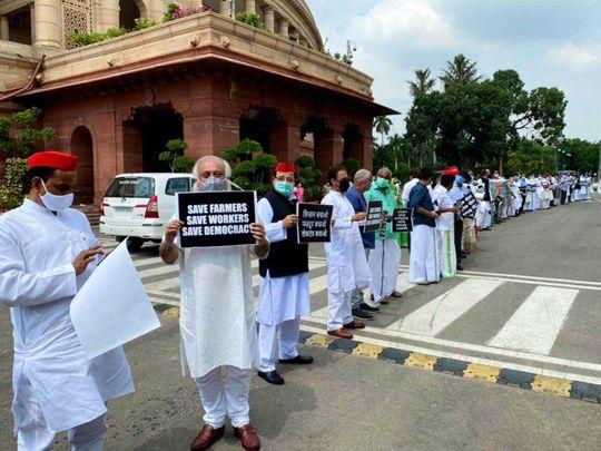 MPs India protest parliament