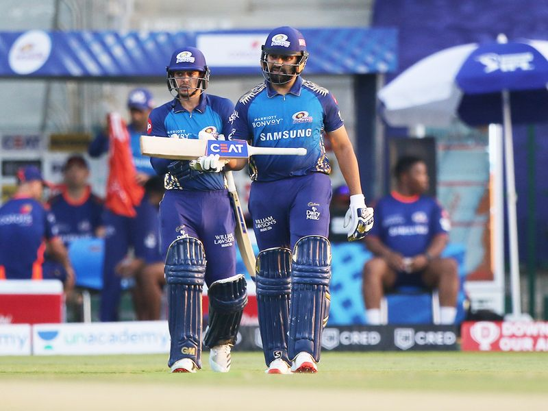 Mumbai Indians openers Rohit Sharma (right) and Quinton de Kock