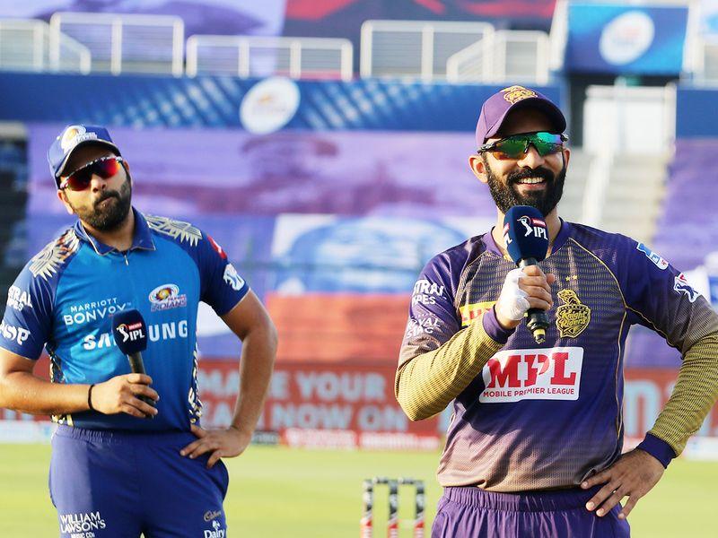 Rohit Sharma, captain of Mumbai Indians, and Dinesh Karthik, Kolkata Knight Riders skipper, during the toss.