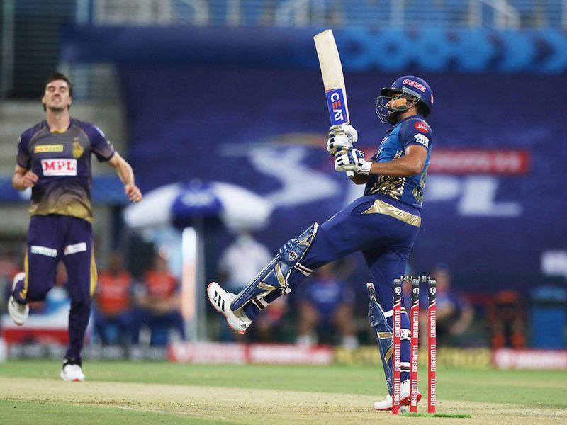 Rohit Sharma, captain of Mumbai Indians, hits a six.