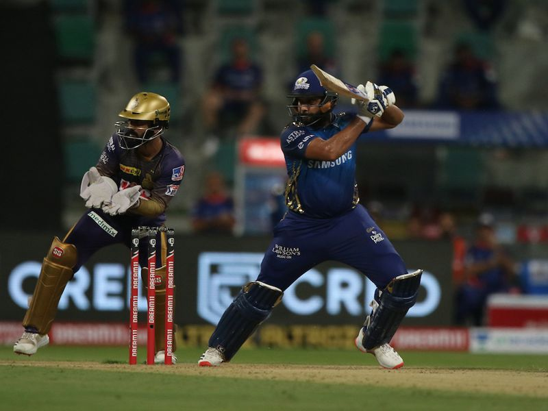 Rohit Sharma captain of Mumbai Indians plays a shot during match 5 of season 13 of Indian Premier League (IPL) between the Kolkata Knight Riders and the Mumbai Indians held at the Sheikh Zayed Stadium, Abu Dhabi in the United Arab Emirates on the 23rd September 2020. Photo by: Pankaj Nangia / Sportzpics for BCCI