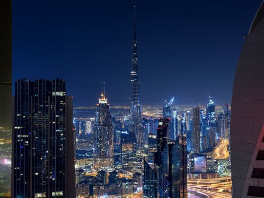 Stock Dubai skyline city