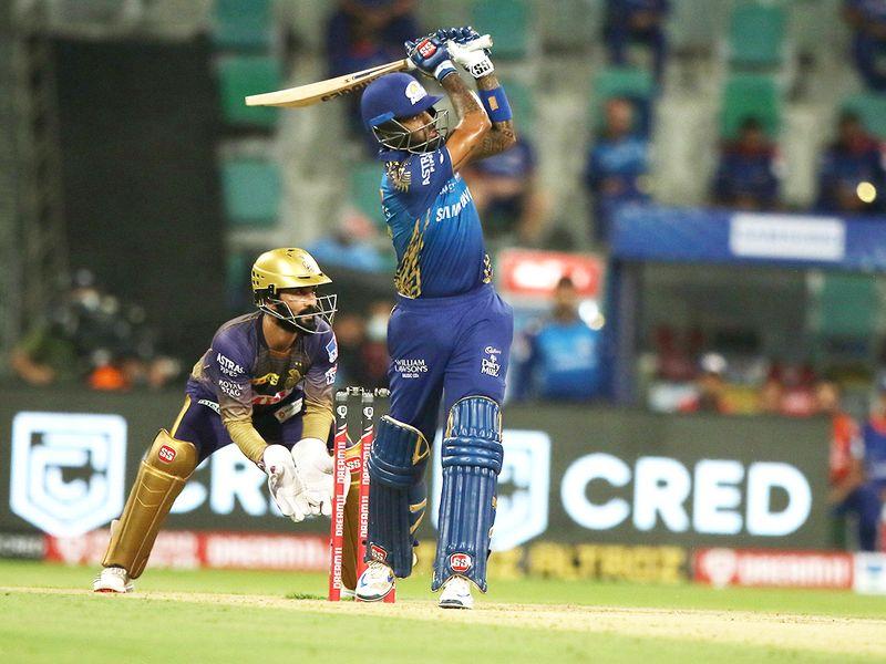 Suryakumar Yadav of Mumbai Indians hits a six