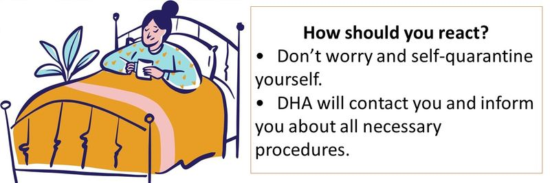 What should I do? - Don't worry and self-quarantine. - You will be contacted by DHA