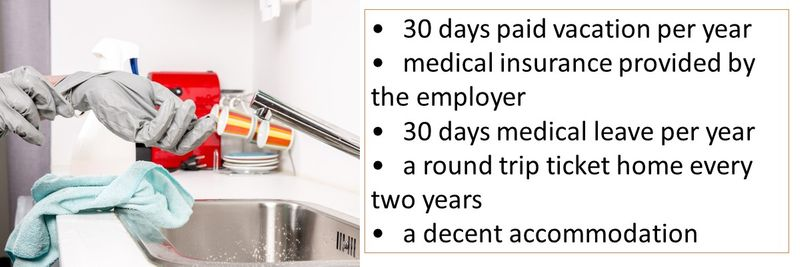 •30 days paid vacation per year •medical insurance provided by the employer •30 days medical leave per year •a round trip ticket home every two years •a decent accommodation