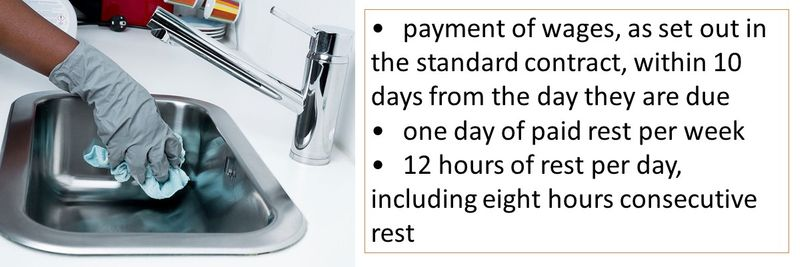 •payment of wages, as set out in the standard contract, within 10 days from the day they are due •one day of paid rest per week •12 hours of rest per day, including eight hours consecutive rest