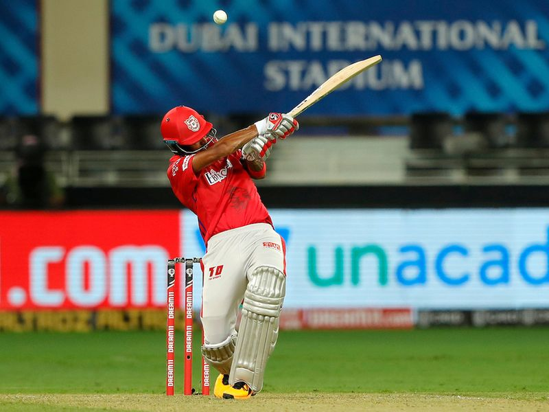 KL Rahul captain of Kings XI Punjab batting during match 6 of season 13, Dream 11 Indian Premier League (IPL) between Kings XI Punjab and Royal Challengers Bangalore held at the Dubai International Cricket Stadium, Dubai in the United Arab Emirates on the 24th September 2020. Photo by: Saikat Das / Sportzpics for BCCI