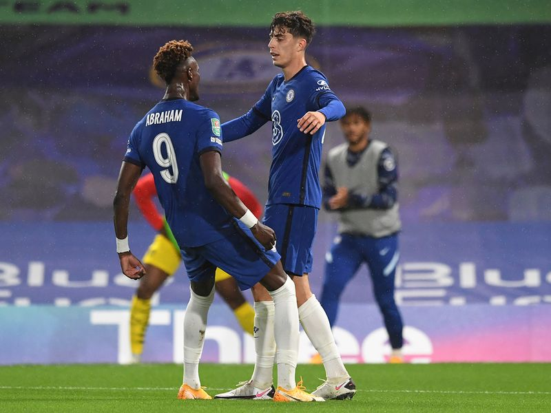 Kai Havertz celebrates with Tammy Abraham during the League Cup win over Barnsley